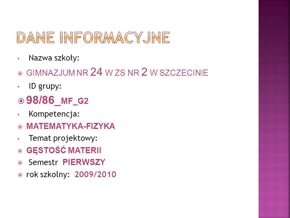 Dane INFORMACYJNE 98/86_MF_G2 Nazwa szkoły: