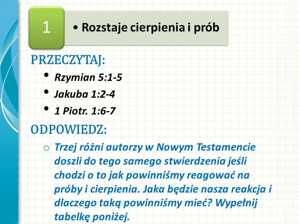 1 Rozstaje cierpienia i prób PRZECZYTAJ: ODPOWIEDZ: Rzymian 5:1-5