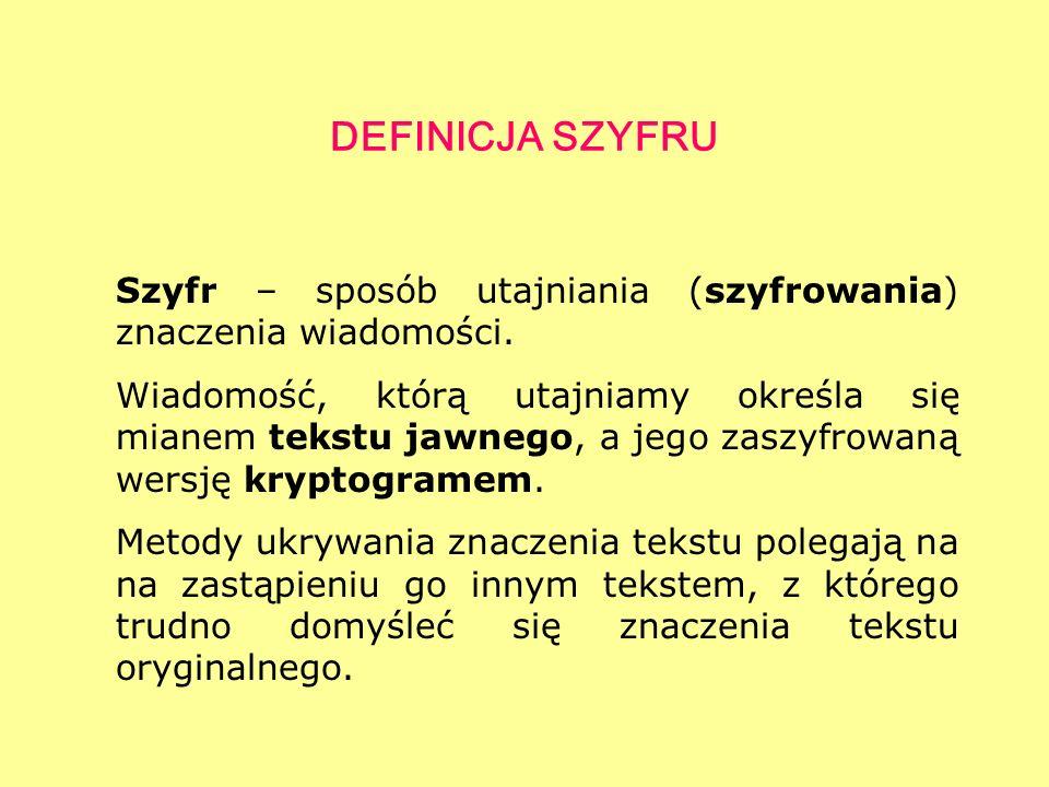 DEFINICJA SZYFRU Szyfr – sposób utajniania (szyfrowania) znaczenia wiadomości.