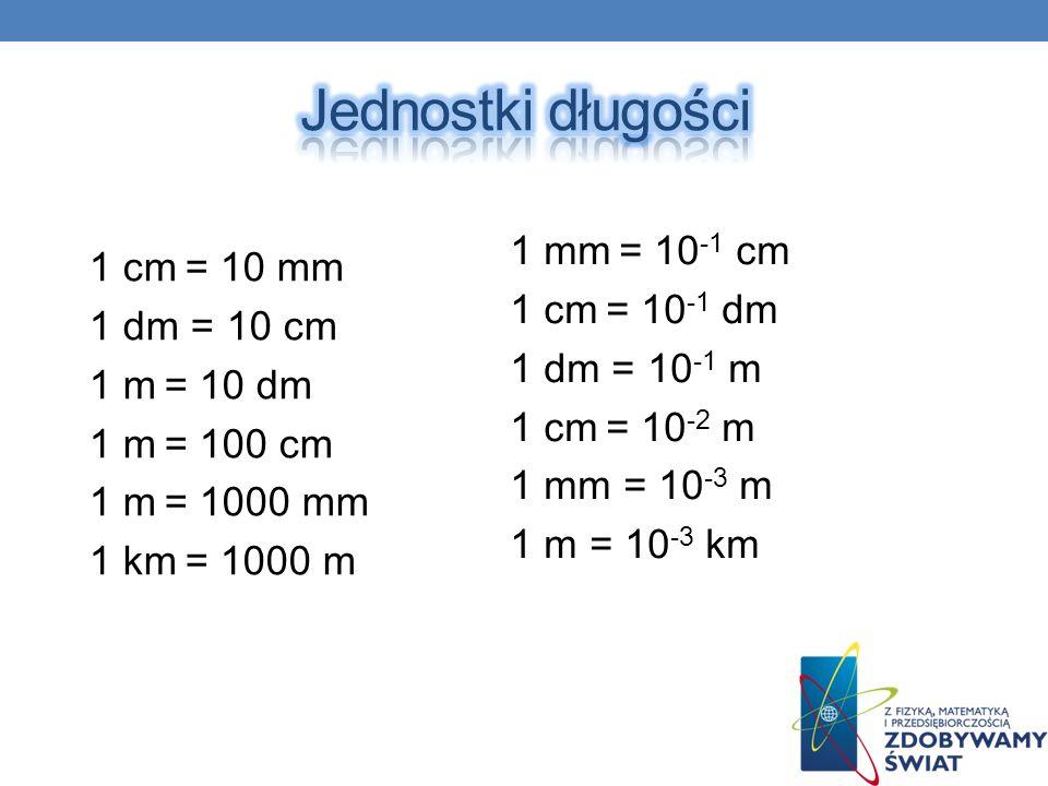 Jednostki długości 1 mm = 10-1 cm 1 cm = 10 mm 1 cm = 10-1 dm