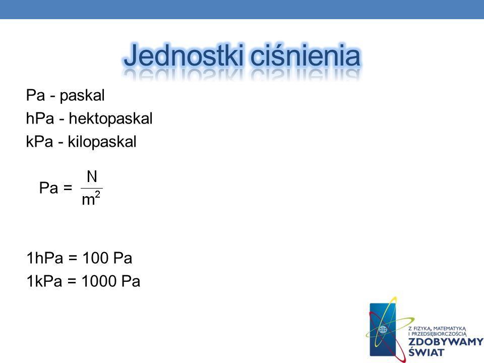 Jednostki ciśnienia Pa - paskal hPa - hektopaskal kPa - kilopaskal