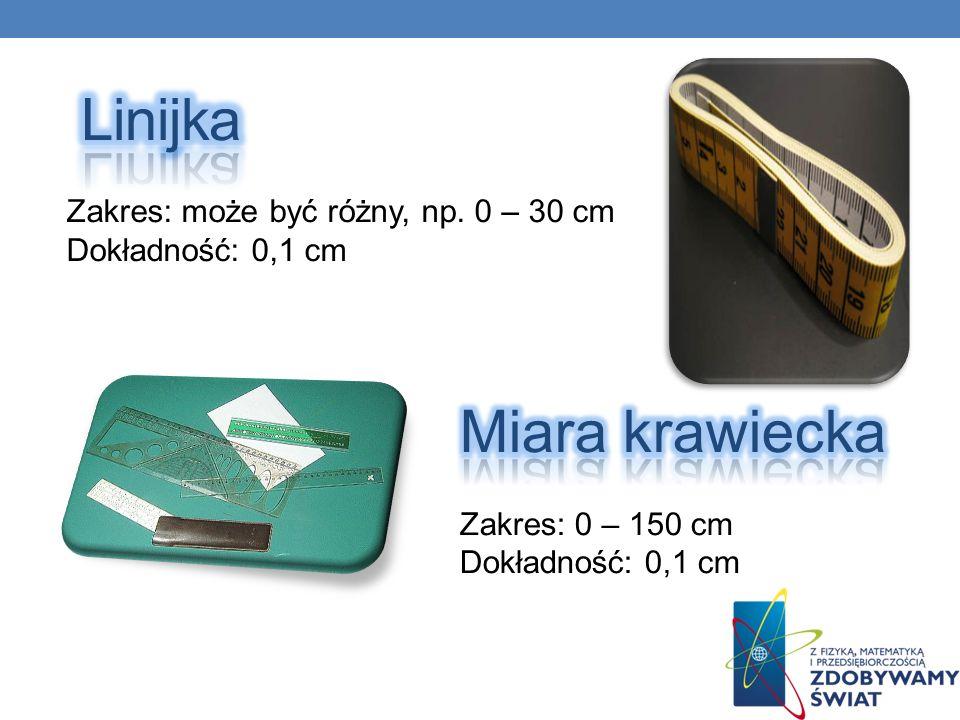 Linijka Miara krawiecka Zakres: może być różny, np. 0 – 30 cm