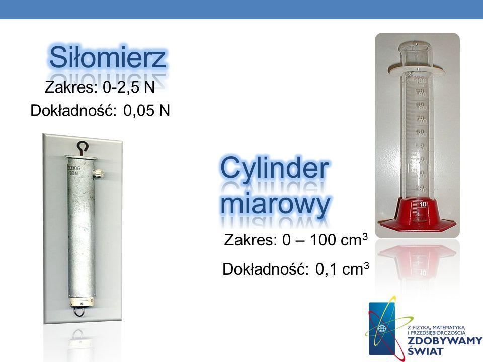 Siłomierz Cylinder miarowy Zakres: 0-2,5 N Dokładność: 0,05 N
