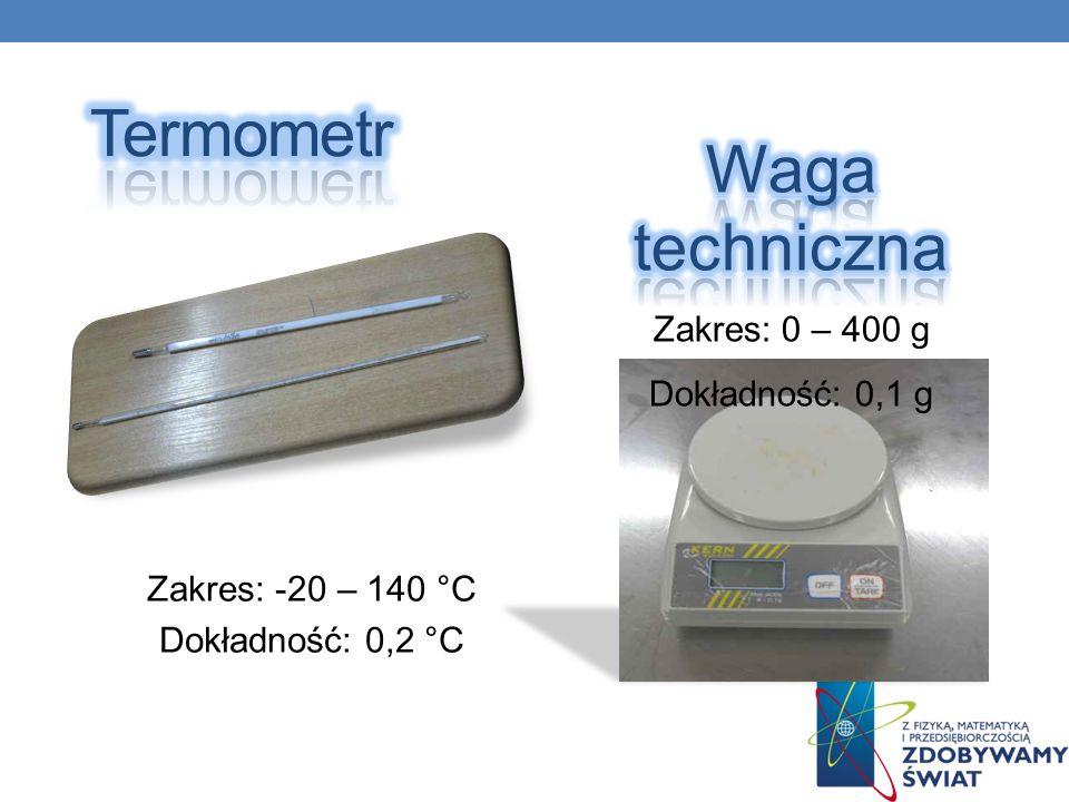 Termometr Waga techniczna Zakres: 0 – 400 g Dokładność: 0,1 g