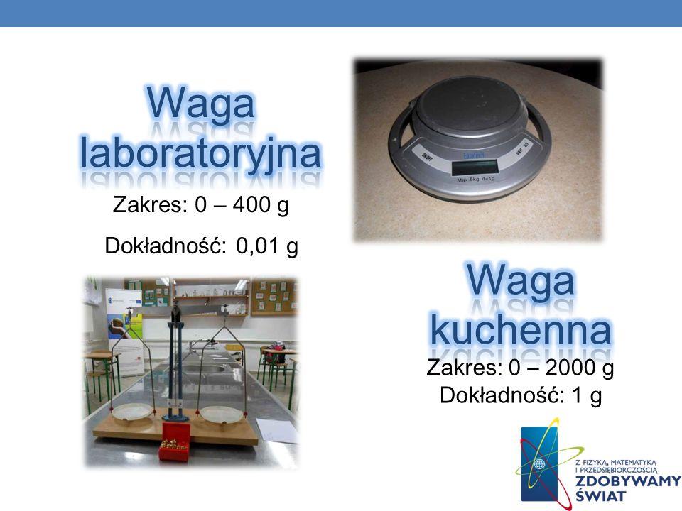 Waga laboratoryjna Waga kuchenna Zakres: 0 – 400 g Dokładność: 0,01 g