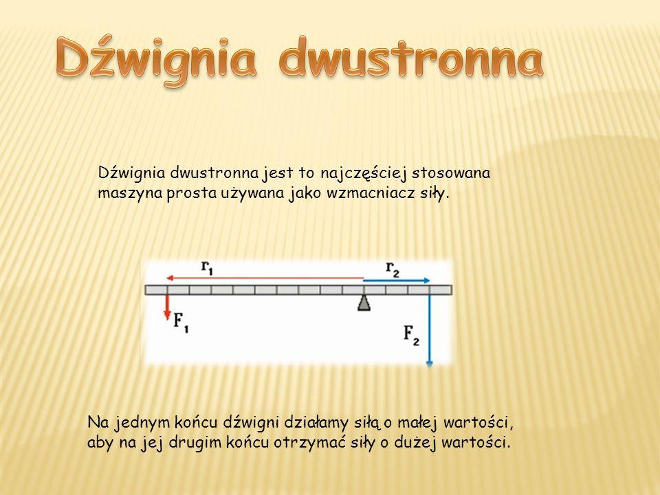 Dźwignia dwustronna Dźwignia dwustronna jest to najczęściej stosowana maszyna prosta używana jako wzmacniacz siły.