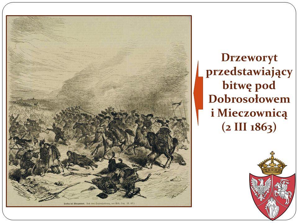 Drzeworyt przedstawiający bitwę pod Dobrosołowem i Mieczownicą (2 III 1863)