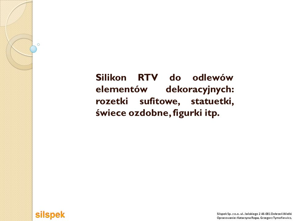 Silikon RTV do odlewów elementów dekoracyjnych: rozetki sufitowe, statuetki, świece ozdobne, figurki itp.
