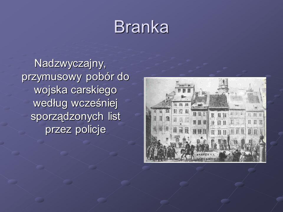 Branka Nadzwyczajny, przymusowy pobór do wojska carskiego według wcześniej sporządzonych list przez policje.