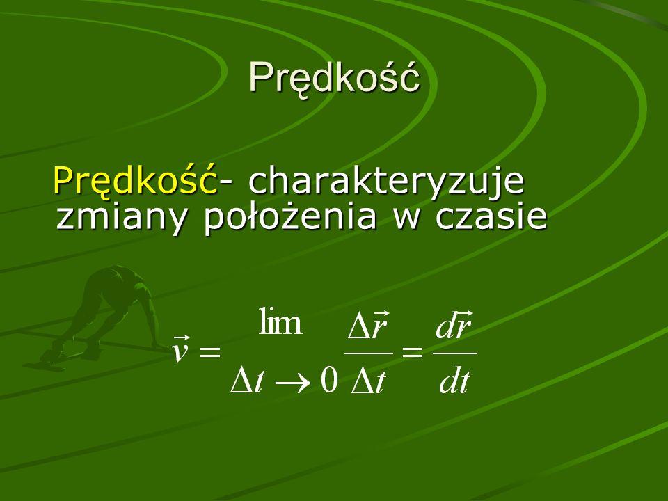 Prędkość Prędkość- charakteryzuje zmiany położenia w czasie
