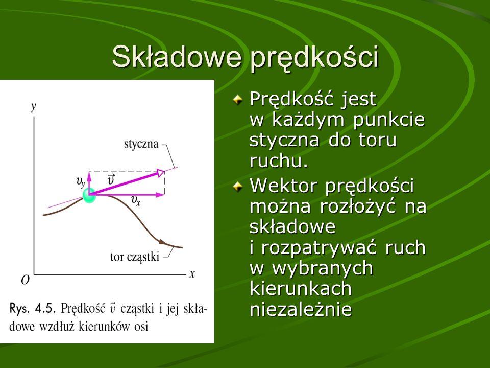 Składowe prędkości Prędkość jest w każdym punkcie styczna do toru ruchu.