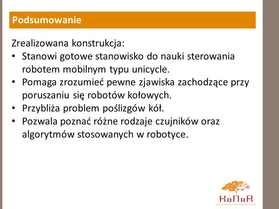 Podsumowanie Zrealizowana konstrukcja: Stanowi gotowe stanowisko do nauki sterowania robotem mobilnym typu unicycle.