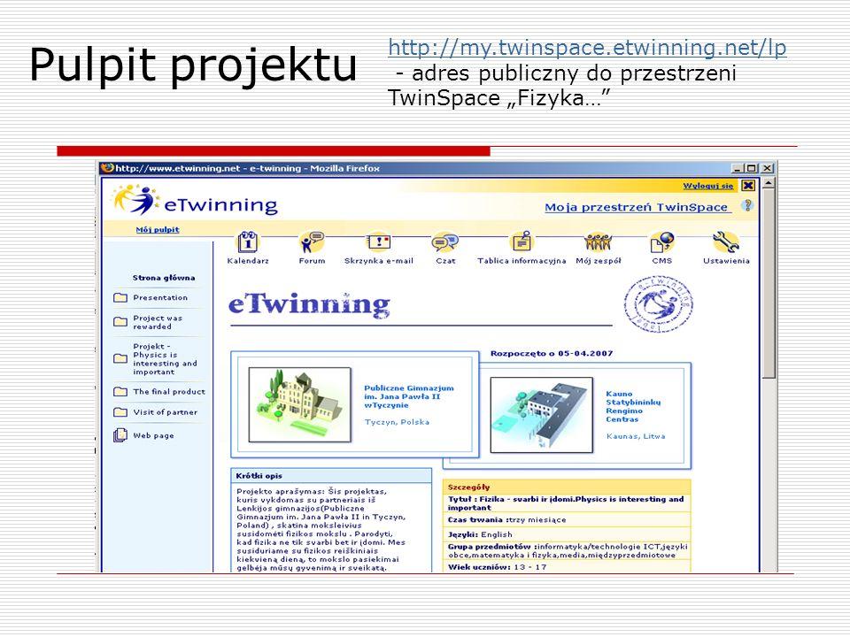 Pulpit projektu http://my.twinspace.etwinning.net/lp