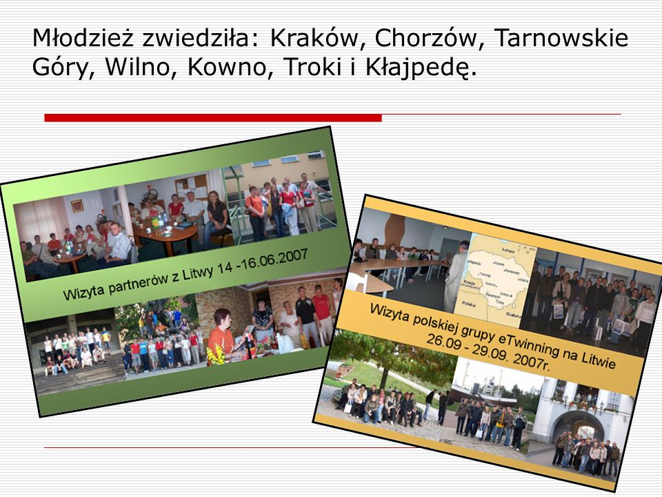 Młodzież zwiedziła: Kraków, Chorzów, Tarnowskie Góry, Wilno, Kowno, Troki i Kłajpedę.