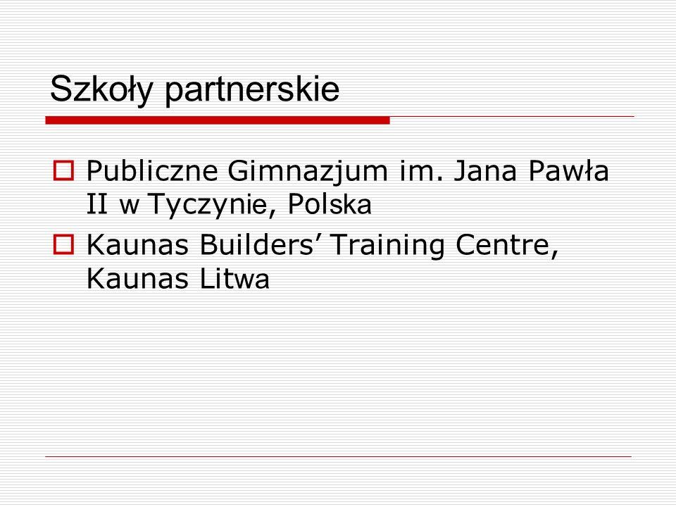 Szkoły partnerskie Publiczne Gimnazjum im. Jana Pawła II w Tyczynie, Polska.