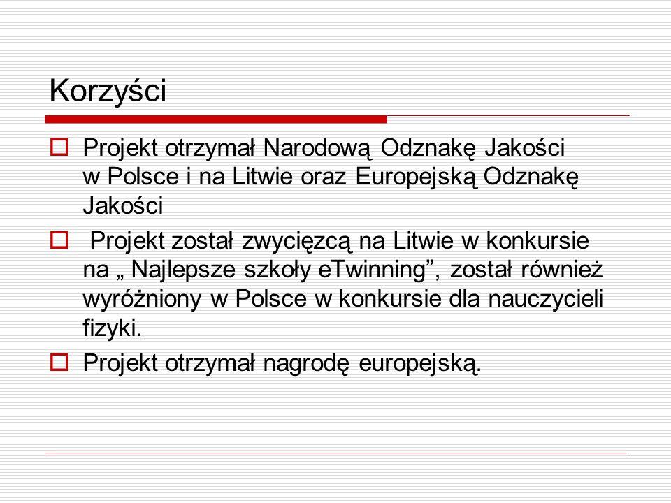 Korzyści Projekt otrzymał Narodową Odznakę Jakości w Polsce i na Litwie oraz Europejską Odznakę Jakości.