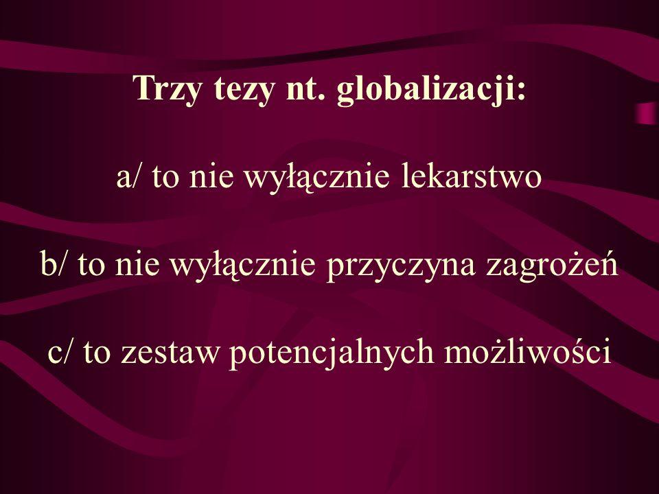 Trzy tezy nt. globalizacji:
