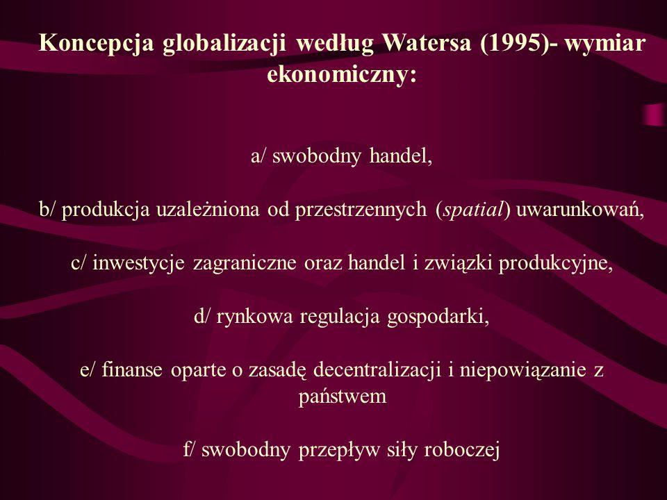 Koncepcja globalizacji według Watersa (1995)- wymiar ekonomiczny: