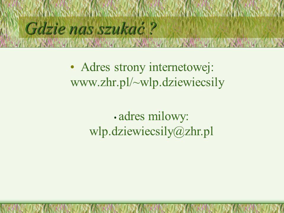 Gdzie nas szukać . Adres strony internetowej: www.zhr.pl/~wlp.dziewiecsily.
