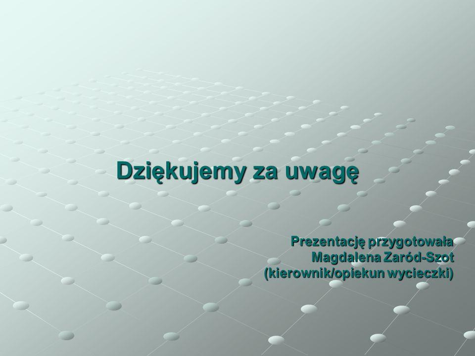 Dziękujemy za uwagę Prezentację przygotowała Magdalena Zaród-Szot (kierownik/opiekun wycieczki)