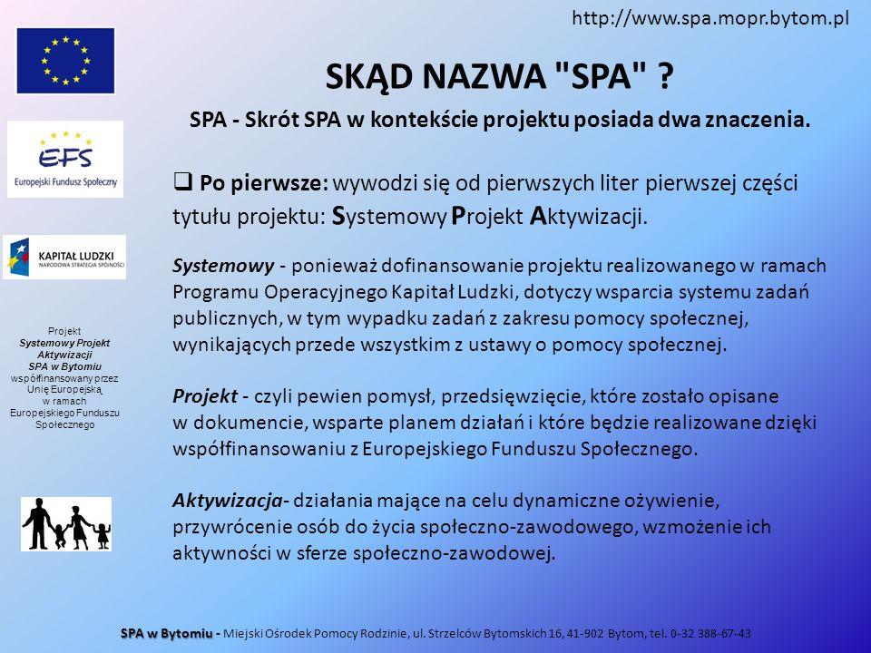 http://www.spa.mopr.bytom.pl SKĄD NAZWA SPA SPA - Skrót SPA w kontekście projektu posiada dwa znaczenia.