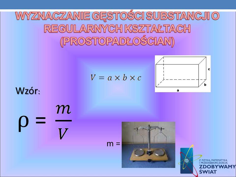 Wyznaczanie gęstości substancji o regularnych kształtach (prostopadłościan)