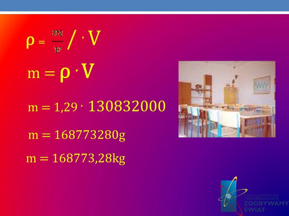 ρ = / . V m = ρ . V m = 1,29 . 130832000 m = 168773280g m = 168773,28kg