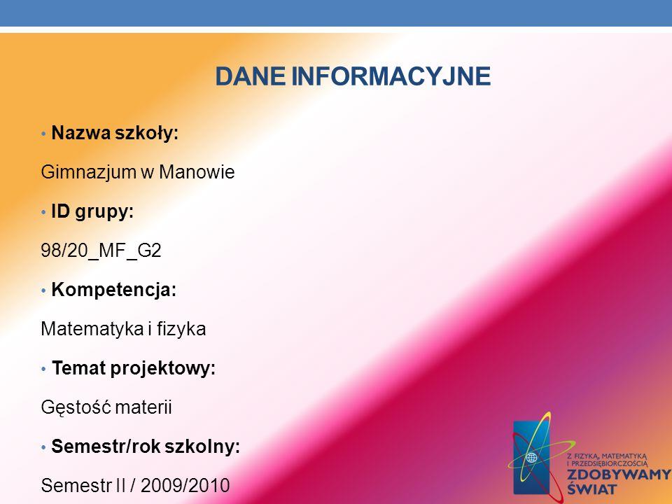 Dane INFORMACYJNE Nazwa szkoły: Gimnazjum w Manowie ID grupy: