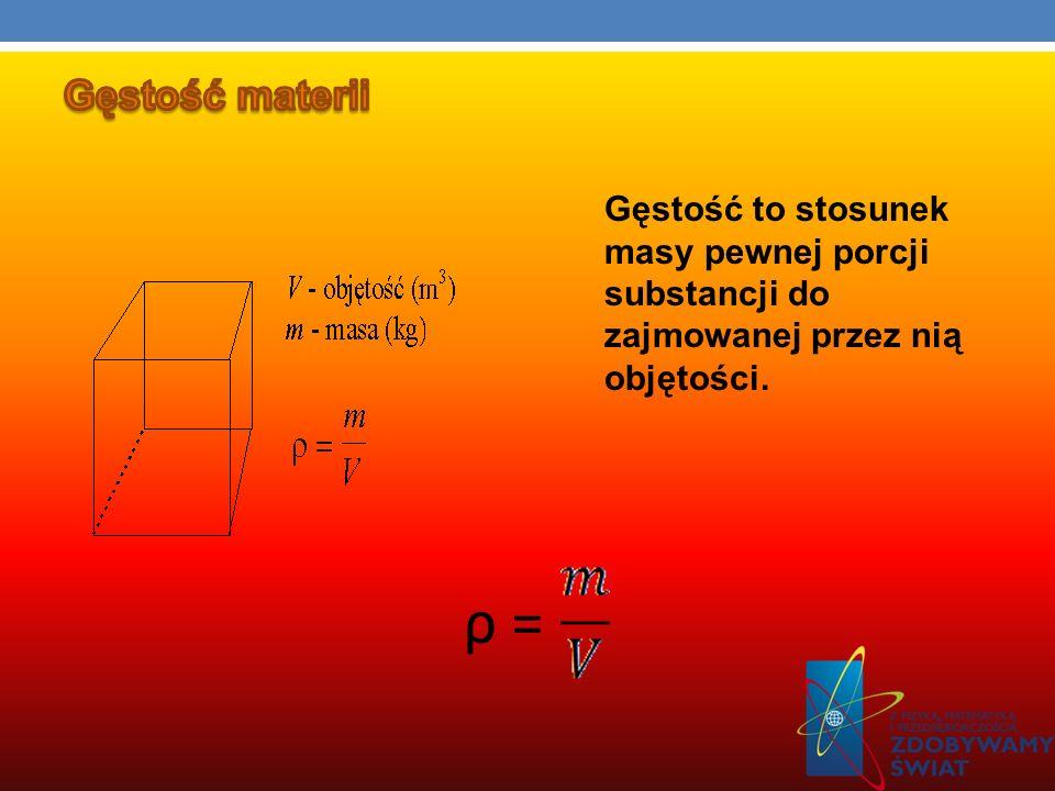Gęstość materiiGęstość to stosunek masy pewnej porcji substancji do zajmowanej przez nią objętości.
