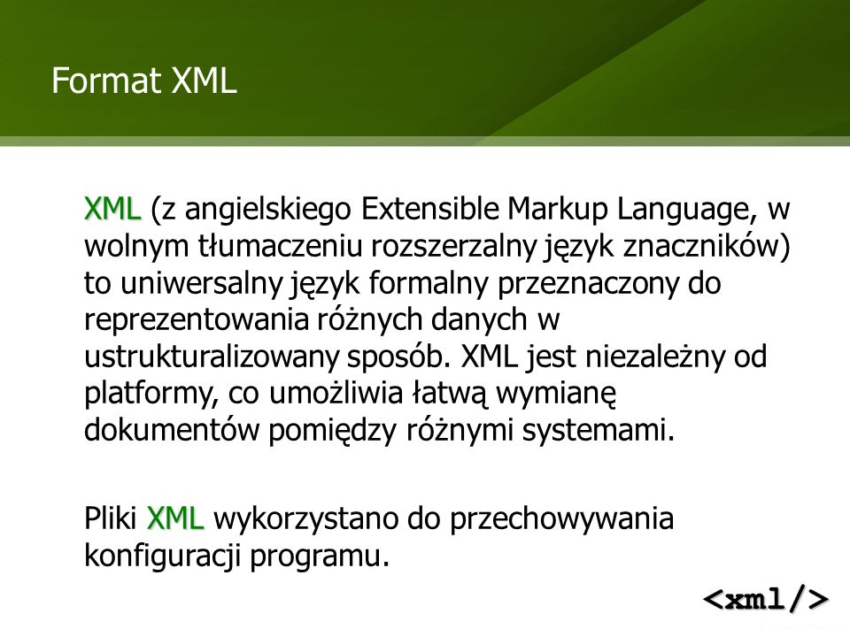 Format XML