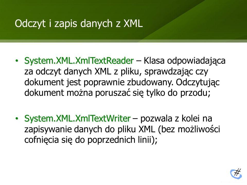 Odczyt i zapis danych z XML