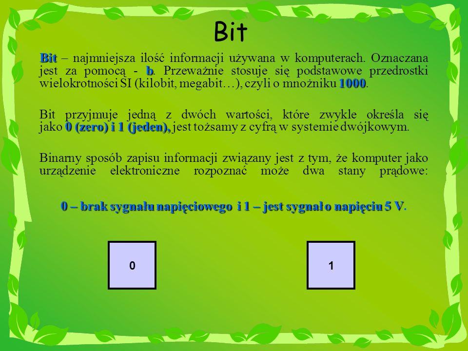 0 – brak sygnału napięciowego i 1 – jest sygnał o napięciu 5 V.