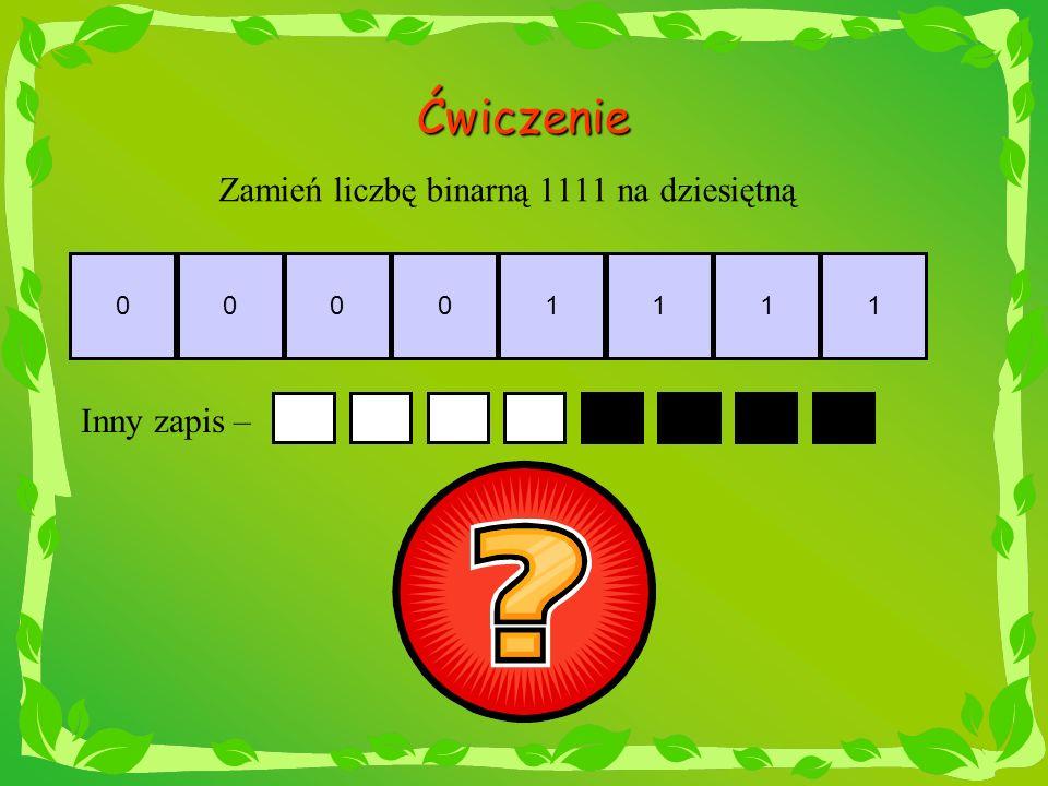 Zamień liczbę binarną 1111 na dziesiętną
