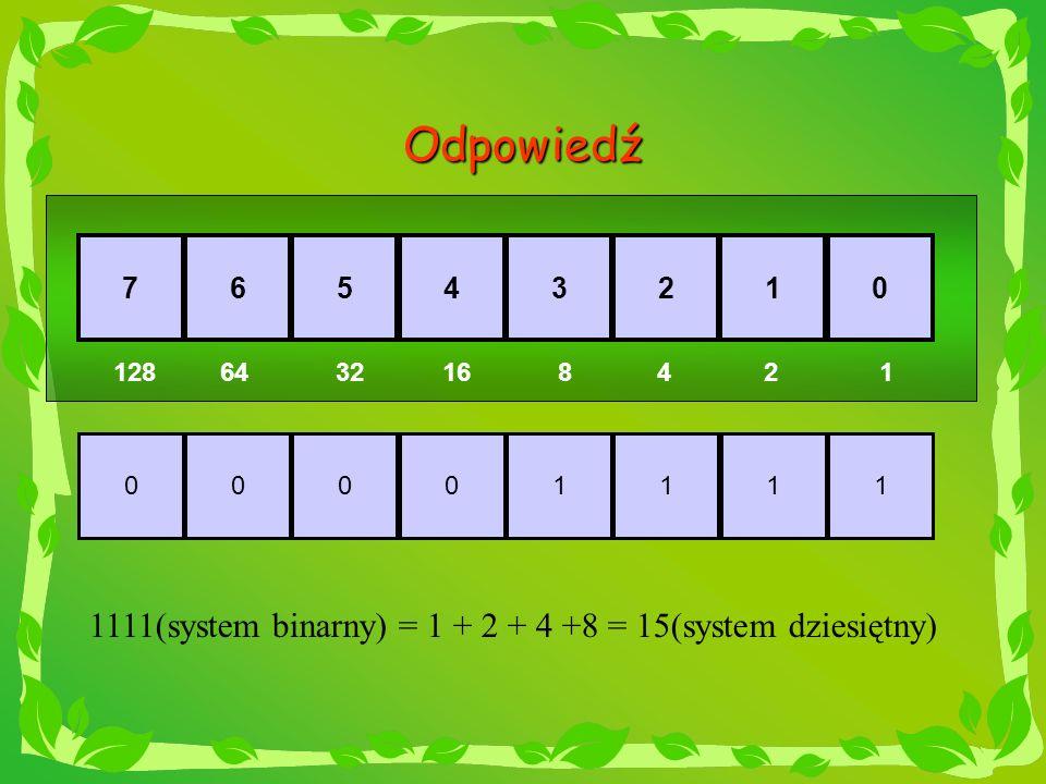 Odpowiedź 1111(system binarny) = 1 + 2 + 4 +8 = 15(system dziesiętny)