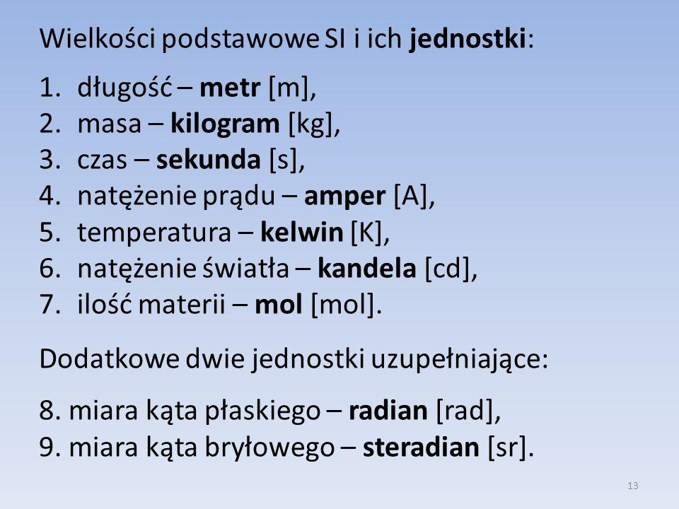 Wielkości podstawowe SI i ich jednostki:
