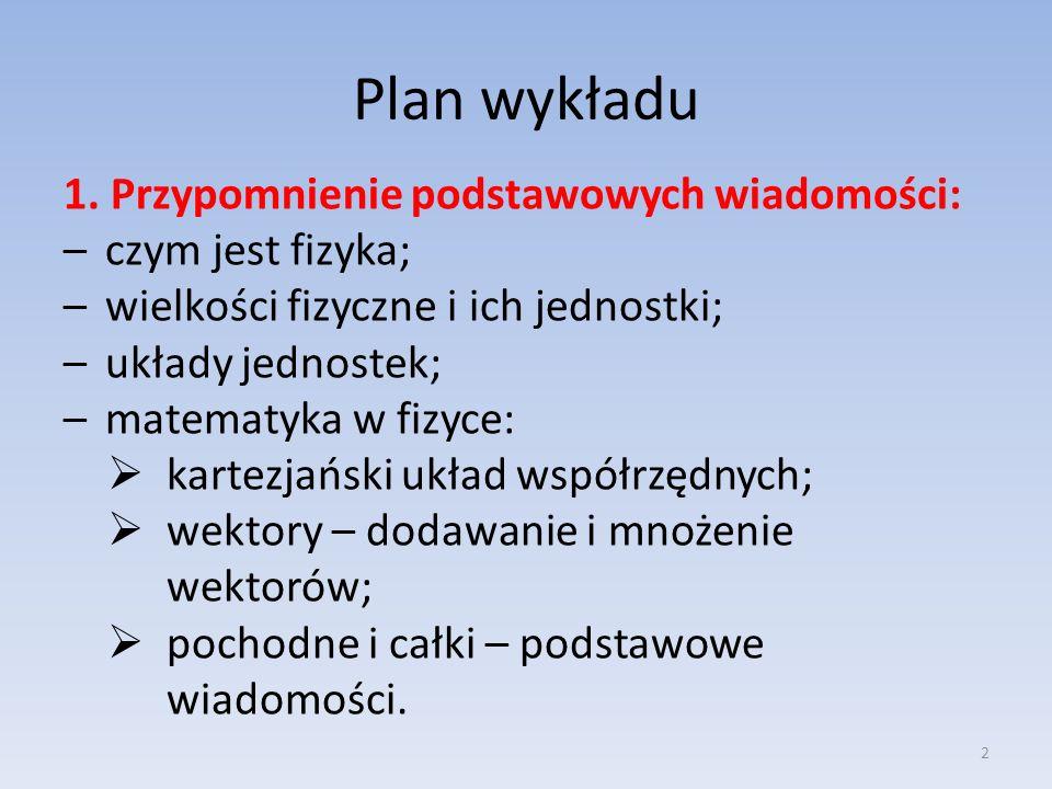 Plan wykładu 1. Przypomnienie podstawowych wiadomości: