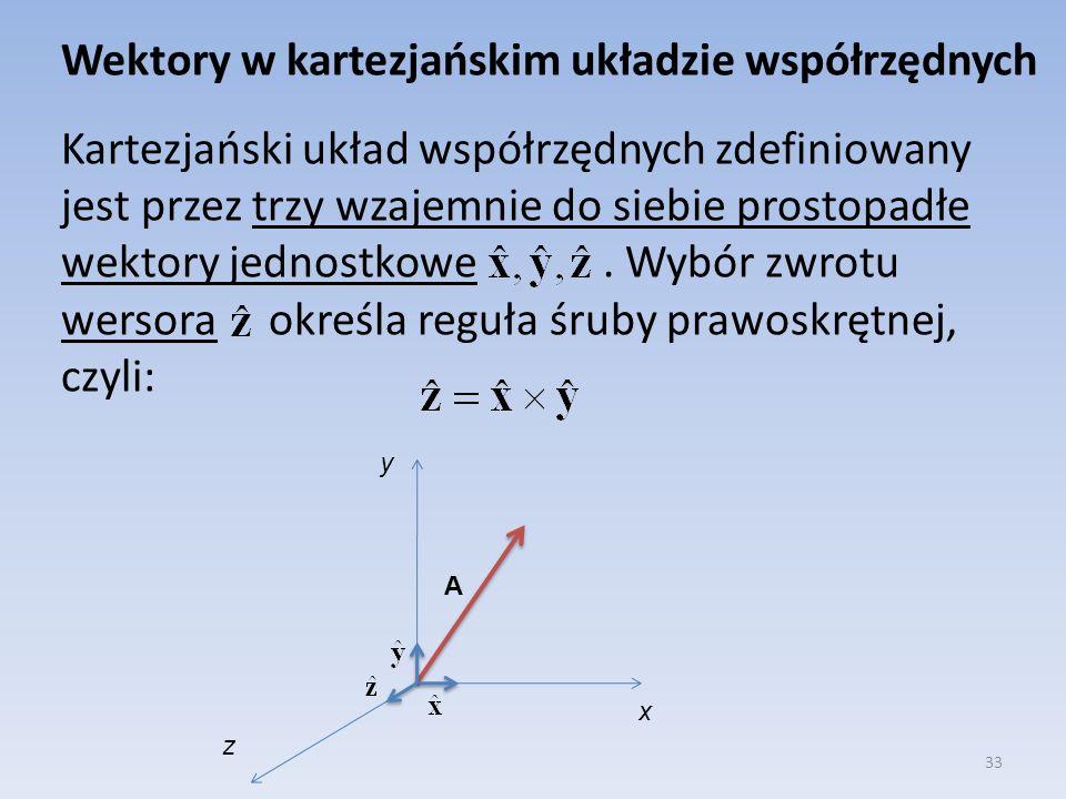 Wektory w kartezjańskim układzie współrzędnych Kartezjański układ współrzędnych zdefiniowany jest przez trzy wzajemnie do siebie prostopadłe wektory jednostkowe . Wybór zwrotu wersora określa reguła śruby prawoskrętnej, czyli:
