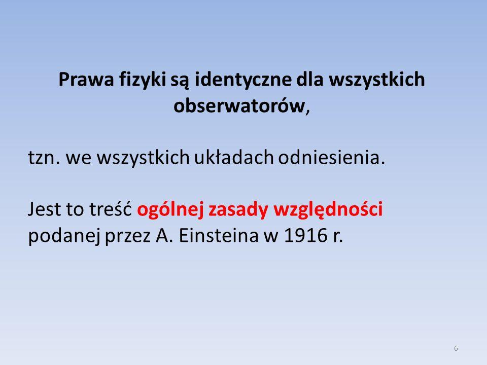 Prawa fizyki są identyczne dla wszystkich obserwatorów, tzn