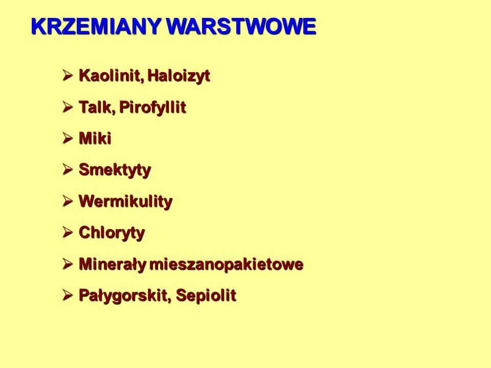 KRZEMIANY WARSTWOWE Kaolinit, Haloizyt Talk, Pirofyllit Miki Smektyty