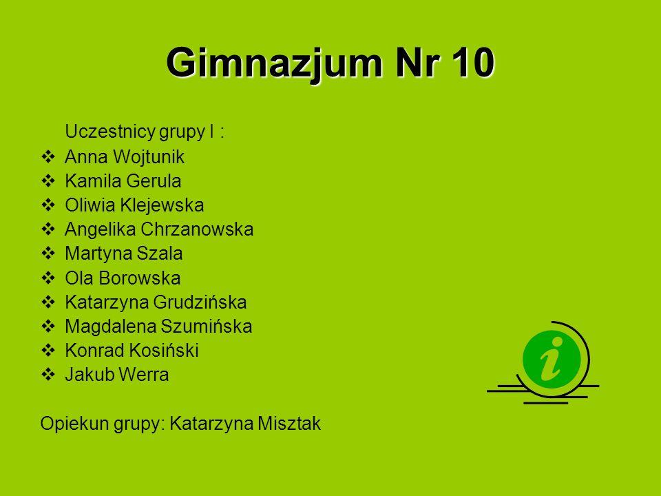 Gimnazjum Nr 10 Uczestnicy grupy I : Anna Wojtunik Kamila Gerula