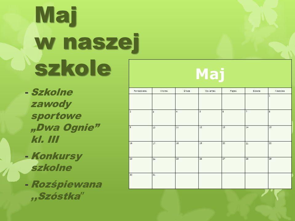 """Maj w naszej szkole Maj Szkolne zawody sportowe """"Dwa Ognie kl. III"""