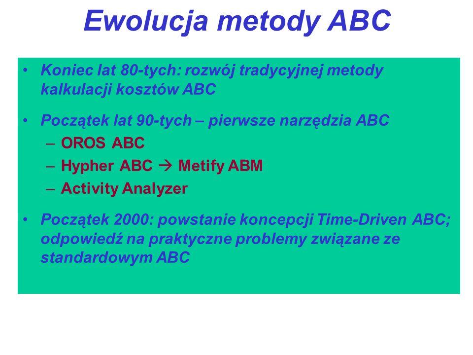 Ewolucja metody ABC Koniec lat 80-tych: rozwój tradycyjnej metody kalkulacji kosztów ABC. Początek lat 90-tych – pierwsze narzędzia ABC.