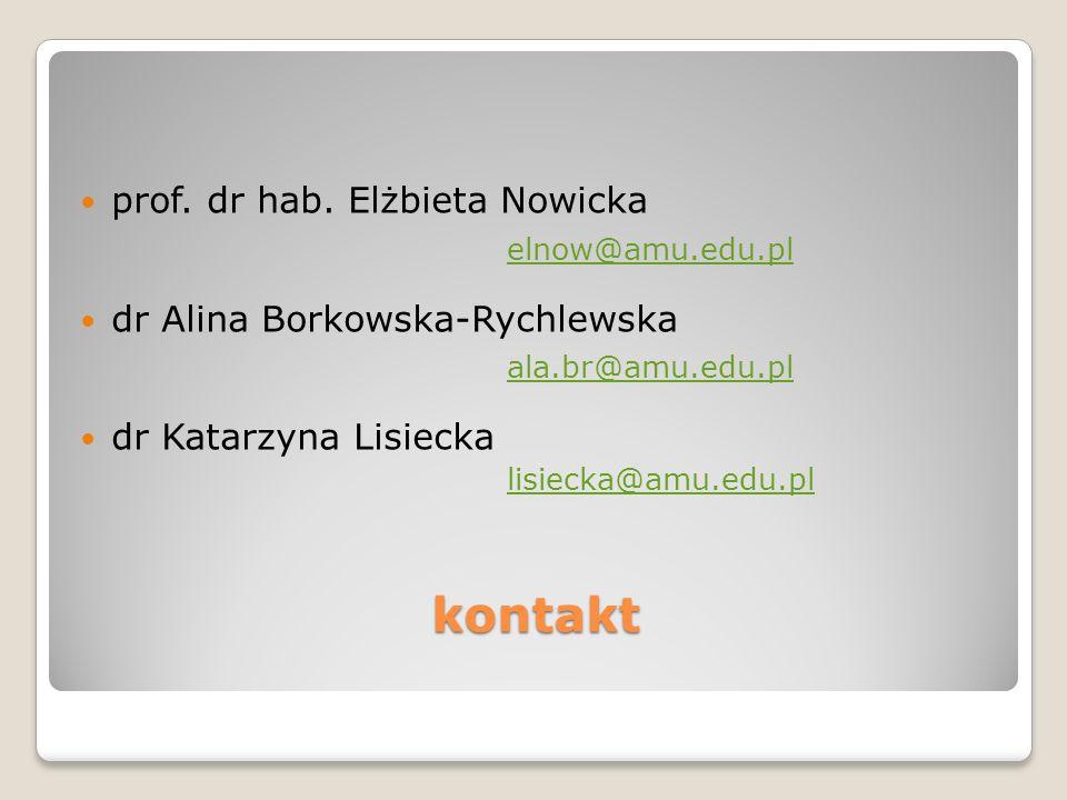 kontakt prof. dr hab. Elżbieta Nowicka elnow@amu.edu.pl