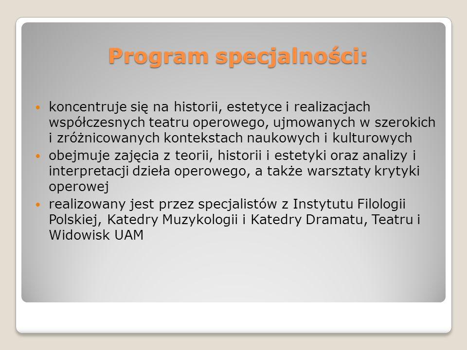 Program specjalności: