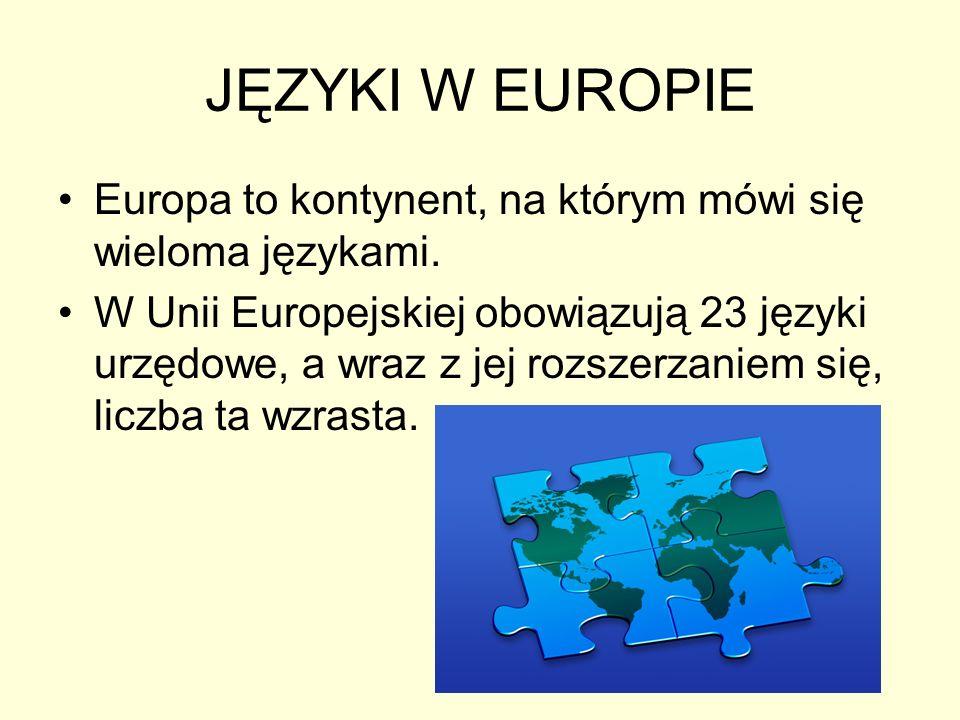 JĘZYKI W EUROPIE Europa to kontynent, na którym mówi się wieloma językami.