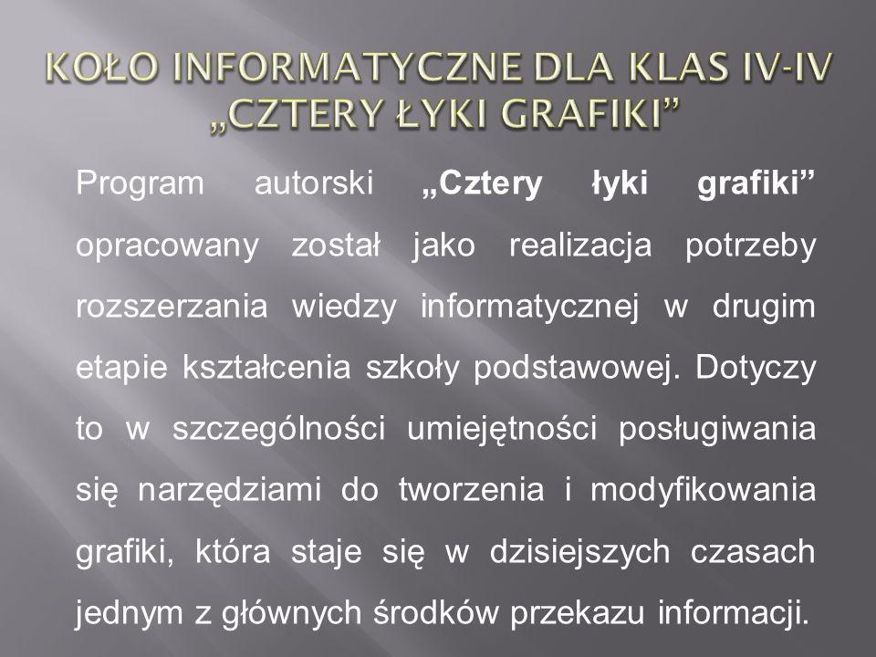 """Koło Informatyczne dla klas IV-IV """"Cztery Łyki Grafiki"""