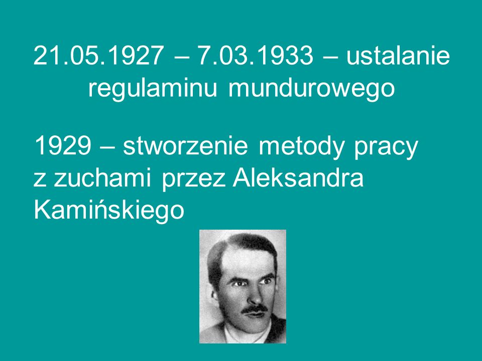 21.05.1927 – 7.03.1933 – ustalanie regulaminu mundurowego