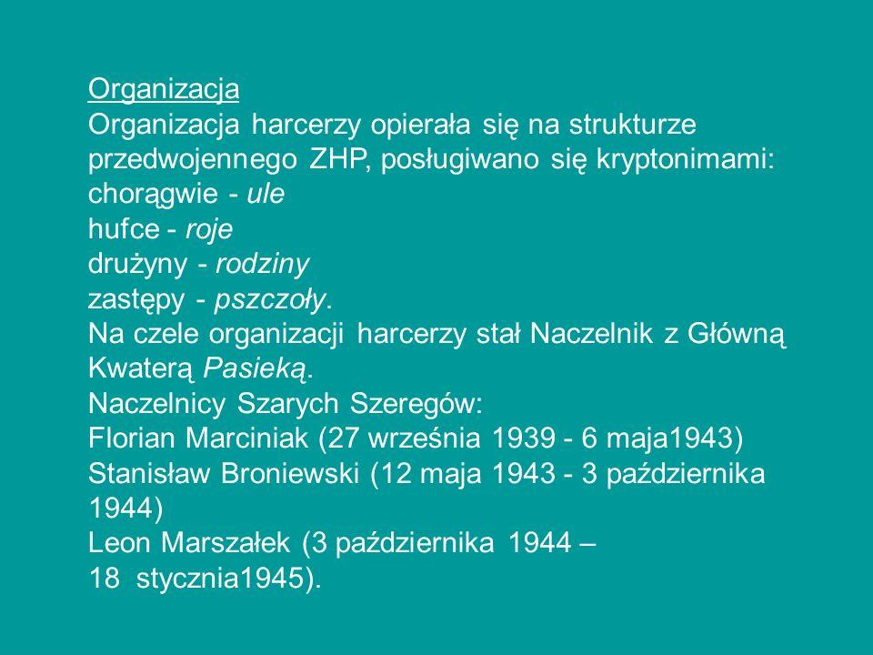 Organizacja Organizacja harcerzy opierała się na strukturze przedwojennego ZHP, posługiwano się kryptonimami:
