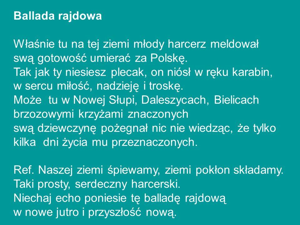 Ballada rajdowa Właśnie tu na tej ziemi młody harcerz meldował. swą gotowość umierać za Polskę.