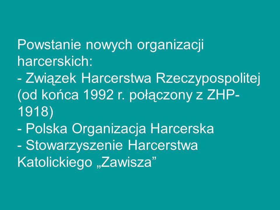 Powstanie nowych organizacji harcerskich: - Związek Harcerstwa Rzeczypospolitej (od końca 1992 r.